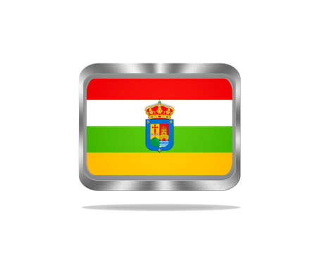 Illustration with a metal La Rioja flag on white background  illustration