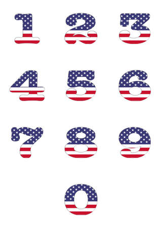 Illustration with a numbers USA flag on white background  illustration
