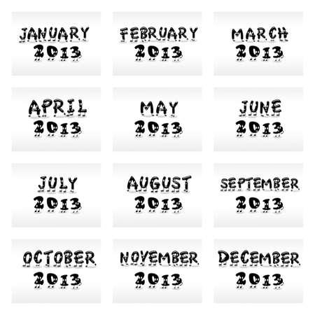 cartoon calendar: Illustration with a cartoon calendar 2013 on white background