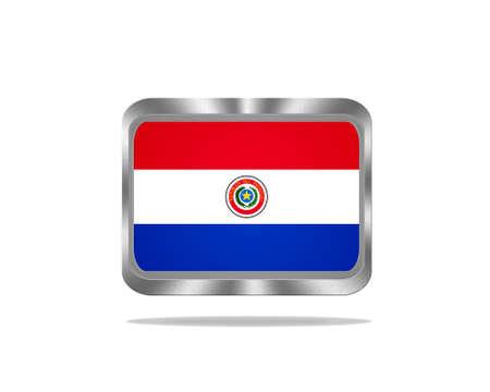bandera de paraguay: Ilustraci�n con una bandera de Paraguay del metal en el fondo blanco