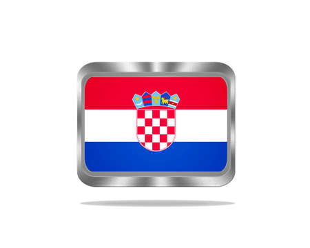 Illustration with a metal Croatia flag on white background  illustration