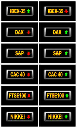 dax: Illustration isolated sign with world stock markets