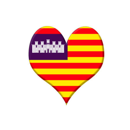 majorca: Illustration with a Baleares heart on white background
