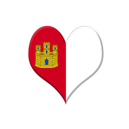 castilla la mancha: Illustration with a Castilla La Mancha heart on white background