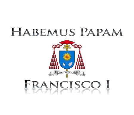 IIlustration with phrase Habemus papam Francisco I on white background  Stockfoto
