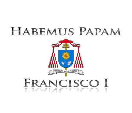 IIlustration with phrase Habemus papam Francisco I on white background  Stock Photo