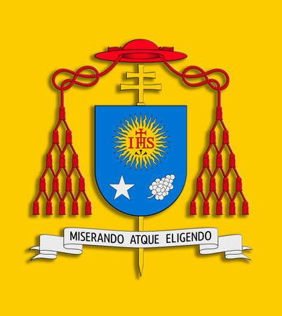roman catholic: Illustration with coat of arms Francisco I on yellow background  Stock Photo