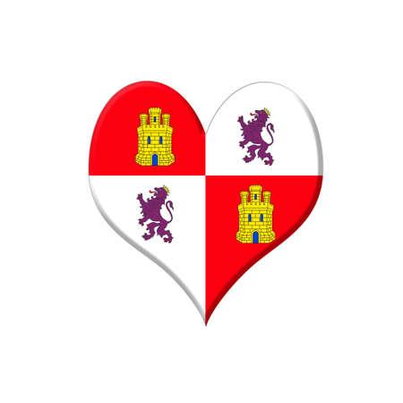 leon: Illustration with a Castilla y Leon heart on white background  Stock Photo