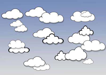 climatology: Illustration with a clouds  on blue background  Stock Photo
