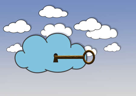 Illustration with a secure cloud  on blue background  illustration