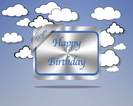 Aluminum frame illustration with Happy Birthday signal on cloud background  illustration
