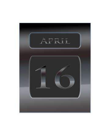 number 16: Illustration with a metal calendar April 16