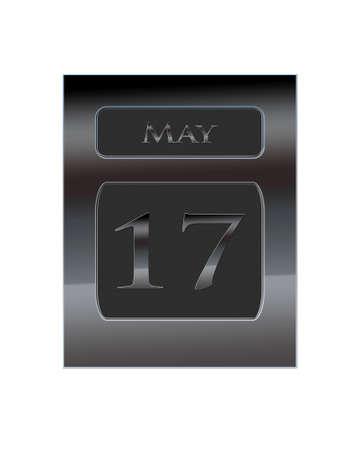 17: Ilustraci�n con el calendario de metal 17 de mayo Foto de archivo