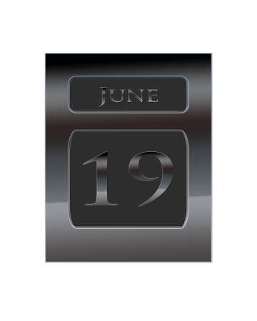 19: Illustration with a metal calendar June 19  Stock Photo