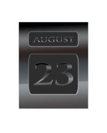 23: Illustration with a metal calendar August 23