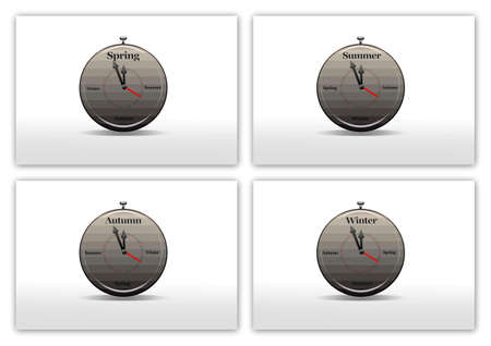 Illustration with clock season on white background  illustration
