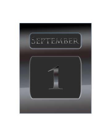september 1: Illustration with a metal calendar September 1