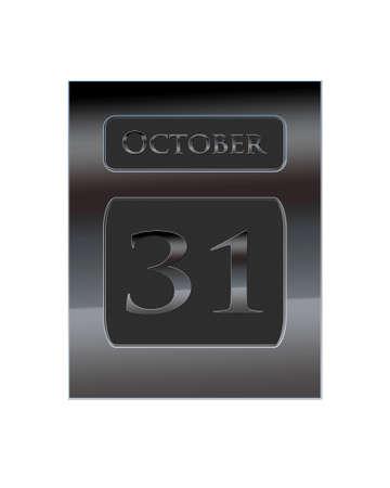 oct 31: Ilustraci�n con un calendario de metal 31 de octubre Foto de archivo