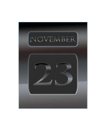 Illustration with a metal calendar November 23  illustration