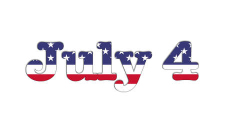 Illustration with July 4 USA flag on white background  illustration