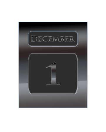 december kalender: Illustration with a metal calendar December 1
