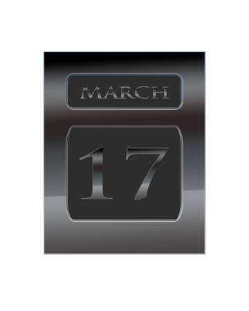 march 17: Illustration with a metal calendar March 17  Stock Photo