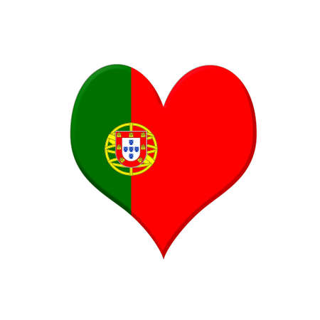 Illustration with a Portugal heart on white background  illustration