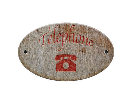 Illustration with a wooden sign of telephone  illustration
