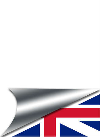 Folded paper with a Britain flag on white background  photo