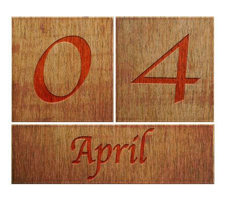 Illustration with a wooden calendar April 4  illustration