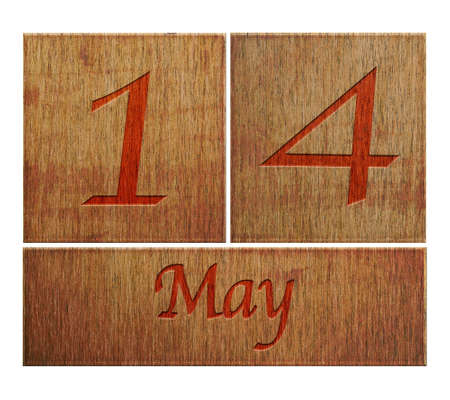 number 14: Illustration with a wooden calendar May 14