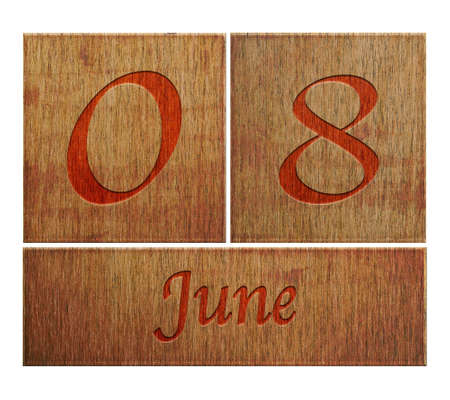 Illustration with a wooden calendar June 8  illustration