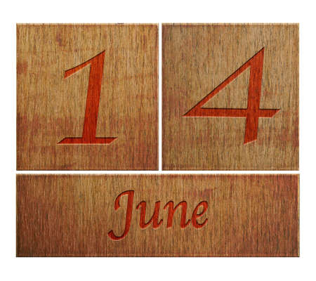 number 14: Illustration with a wooden calendar June 14
