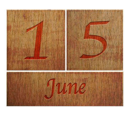 Illustration with a wooden calendar June 15  illustration