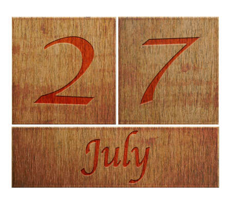 Illustration with a wooden calendar July 27  illustration