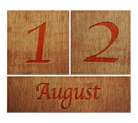 Illustration with a wooden calendar August 12  illustration