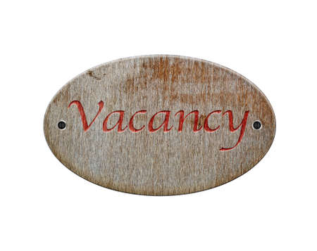 holidays vacancy: Illustration with a vacancy wooden sign on white background