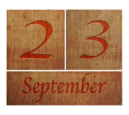 Illustration with a wooden calendar September 23