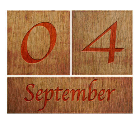 Illustration with a wooden calendar September 4  illustration