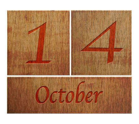 number 14: Illustration with a wooden calendar October 14