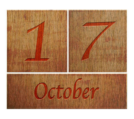 17: Ilustraci�n con un calendario de madera de 17 de octubre