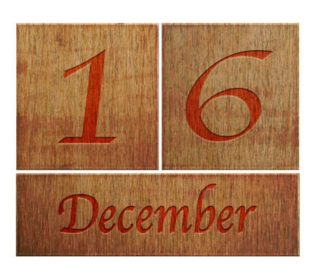 number 16: Illustration with a wooden calendar December 16  Stock Photo