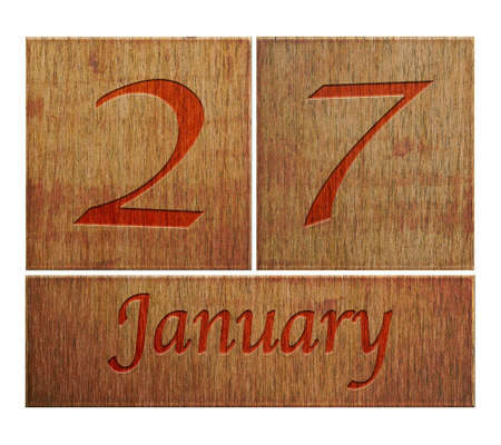 Illustration with a wooden calendar January 27  illustration