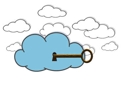 Illustration with a secure cloud  on white background  illustration