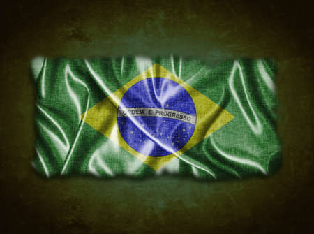 Illustration with a vintage Brazil flag on green background  illustration