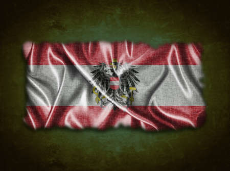 Illustration with a vintage Austria flag on green background  illustration