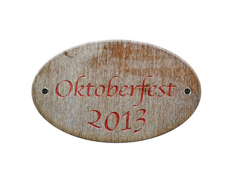 Illustration with a wooden sign of Oktoberfest 2013  illustration
