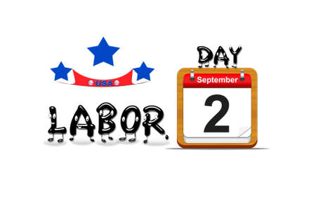 Illustration with a labor day  calendar on a white background  Stock Photo
