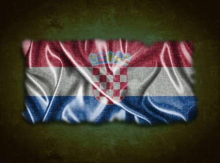 bandiera croazia: Illustrazione con la Croazia bandiera vintage su sfondo verde