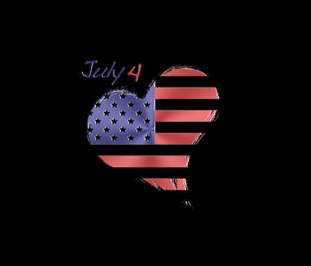Illustration with a isolated USA heart on black background  illustration